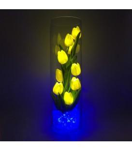 """Ночник """"Светодиодные цветы"""" LED Spirit, 9 жёлтых тюльпанов с синей подсветкой — Купить по низкой цене в интернет-магазине"""