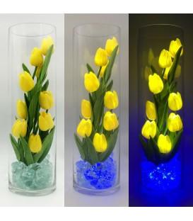 """Ночник """"Светодиодные цветы"""" LED Spirit, 9 жёлтых тюльпанов с синей подсветкой"""