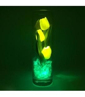 """Ночник """"Светодиодные цветы"""" LED Florarium, 3 жёлтых тюльпана с зелёной подсветкой — Купить по низкой цене в интернет-магазине"""