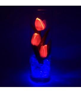 """Ночник """"Светодиодные цветы"""" LED Florarium, 3 красных тюльпана с синей подсветкой"""