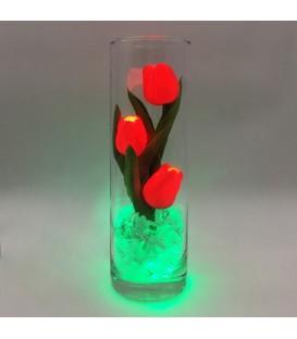 """Ночник """"Светодиодные цветы"""" LED Florarium, 3 красных тюльпана с зелёной подсветкой"""