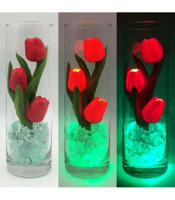 """Ночник """"Светодиодные цветы"""" LED Florarium, 3 красных тюльпана с зелёной подсветкой — Купить по низкой цене в интернет-магазине"""