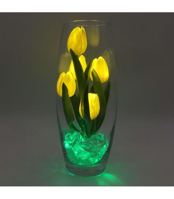 """Ночник """"Светодиодные цветы"""" LED Grace, 5 жёлтых тюльпанов с зелёной подсветкой — Купить по низкой цене в интернет-магазине"""