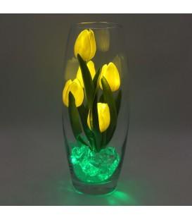 """Ночник """"Светодиодные цветы"""" LED Grace, 5 жёлтых тюльпанов с зелёной подсветкой"""