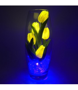 """Ночник """"Светодиодные цветы"""" LED Grace, 5 жёлтых тюльпанов с синей подсветкой"""