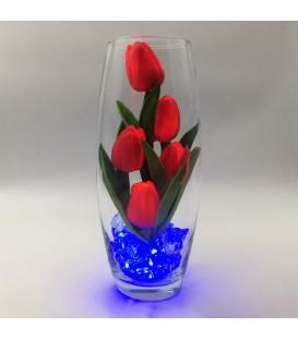 """Ночник """"Светодиодные цветы"""" LED Grace, 5 красных тюльпанов с синей подсветкой"""
