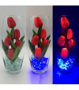 """Ночник """"Светодиодные цветы"""" LED Grace, 5 красных тюльпанов с синей подсветкой — Купить по низкой цене в интернет-магазине"""