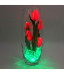 """Ночник """"Светодиодные цветы"""" LED Grace, 5 красных тюльпанов с зелёной подсветкой"""