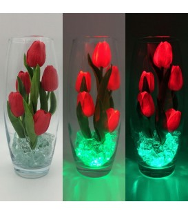 """Ночник """"Светодиодные цветы"""" LED Grace, 5 красных тюльпанов с зелёной подсветкой — Купить по низкой цене в интернет-магазине"""