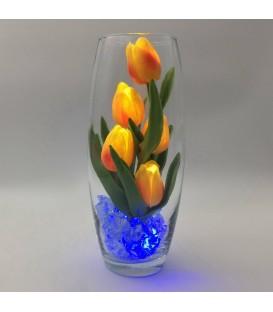 """Ночник """"Светодиодные цветы"""" LED Grace, 5 оранжевых тюльпанов с синей подсветкой"""