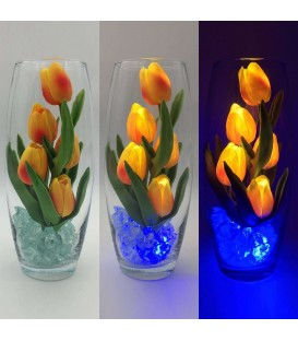 """Ночник """"Светодиодные цветы"""" LED Grace, 5 оранжевых тюльпанов с синей подсветкой — Купить по низкой цене в интернет-магазине"""