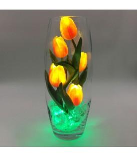 """Ночник """"Светодиодные цветы"""" LED Grace, 5 оранжевых тюльпанов с зелёной подсветкой"""