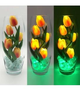 """Ночник """"Светодиодные цветы"""" LED Grace, 5 оранжевых тюльпанов с зелёной подсветкой — Купить по низкой цене в интернет-магазине"""