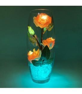 """Ночник """"Светодиодные цветы"""" LED Harmony, 5 красно-жёлтых роз с сине-зелёной подсветкой — Купить по низкой цене в"""