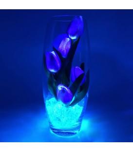 """Ночник """"Светодиодные цветы"""" LED Grace, 5 фиолетовых тюльпанов с голубой подсветкой — Купить по низкой цене в интернет-магазине"""