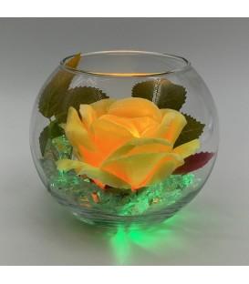 """Ночник """"Светодиодные цветы"""" LED Secret, жёлтая роза с зелёной подсветкой"""