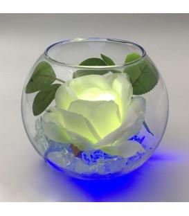 """Ночник """"Светодиодные цветы"""" LED Secret, белая роза с синей подсветкой"""