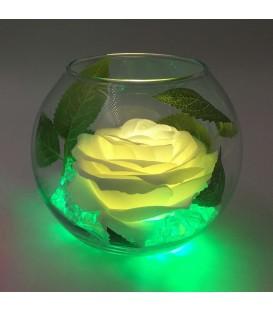 """Ночник """"Светодиодные цветы"""" LED Secret, белая роза с зелёной подсветкой"""