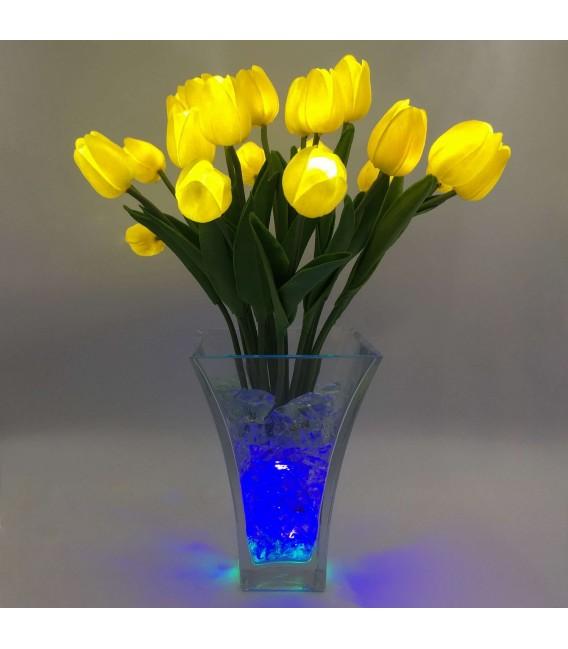 """Ночник """"Светодиодные цветы"""" LED Spring, 21 жёлтый тюльпан с синей подсветкой — Купить по низкой цене в интернет-магазине"""