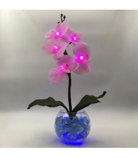 """Ночник """"Светодиодные цветы"""" LED Provocation, 5 малиновых орхидей с синей подсветкой"""
