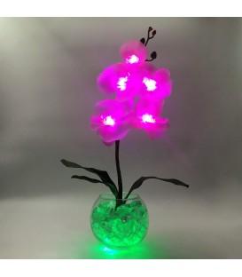 """Ночник """"Светодиодные цветы"""" LED Provocation, 5 малиновых орхидей с зелёной подсветкой"""