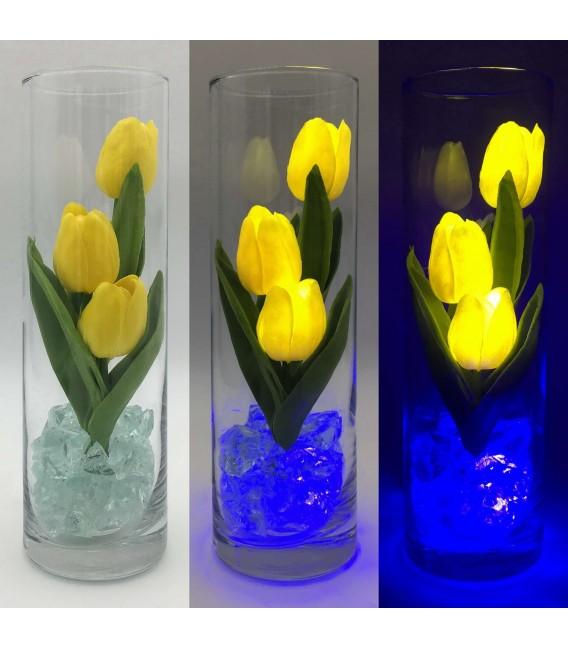 """Ночник """"Светодиодные цветы"""" LED Florarium, 3 жёлтых тюльпана с синей подсветкой — Купить по низкой цене в интернет-магазине"""
