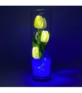 """Ночник """"Светодиодные цветы"""" LED Florarium, 3 белых тюльпана с синей подсветкой — Купить по низкой цене в интернет-магазине"""