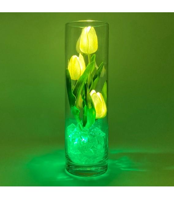 """Ночник """"Светодиодные цветы"""" LED Florarium, 3 белых тюльпана с зелёной подсветкой — Купить по низкой цене в интернет-магазине"""