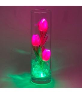 """Ночник """"Светодиодные цветы"""" LED Florarium, 3 розовых тюльпана с зелёной подсветкой — Купить по низкой цене в интернет-магазине"""