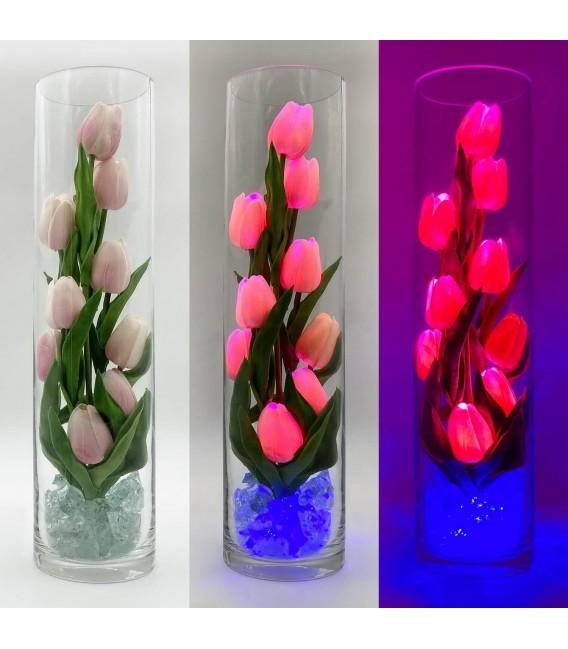 """Ночник """"Светодиодные цветы"""" LED Spirit, 9 розовых тюльпанов с синей подсветкой — Купить по низкой цене в интернет-магазине"""