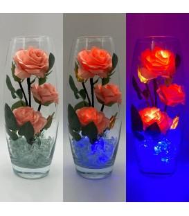 """Ночник """"Светодиодные цветы"""" LED Harmony, 5 розовых роз с синей подсветкой — Купить по низкой цене в интернет-магазине"""
