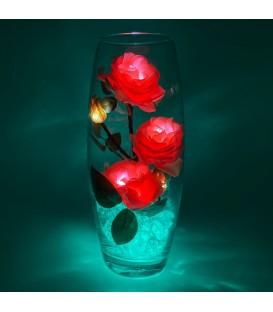 """Ночник """"Светодиодные цветы"""" LED Harmony, 5 розовых роз с зелёной подсветкой — Купить по низкой цене в интернет-магазине"""