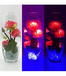 """Ночник """"Светодиодные цветы"""" LED Harmony, 5 красных роз с синей подсветкой — Купить по низкой цене в интернет-магазине"""