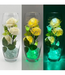 """Ночник """"Светодиодные цветы"""" LED Harmony, 5 белых роз с зелёной подсветкой — Купить по низкой цене в интернет-магазине"""