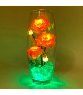 """Ночник """"Светодиодные цветы"""" LED Harmony, 5 жёлтых роз с зелёной подсветкой — Купить по низкой цене в интернет-магазине"""