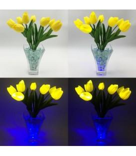 """Ночник """"Светодиодные цветы"""" LED Joy, 9 жёлтых тюльпанов с синей подсветкой — Купить по низкой цене в интернет-магазине"""