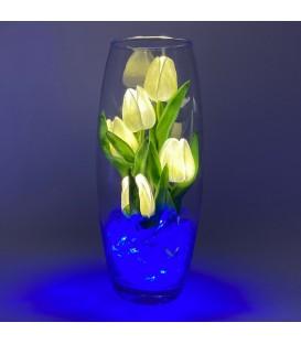 """Ночник """"Светодиодные цветы"""" LED Grace, 5 белых тюльпанов с синей подсветкой"""
