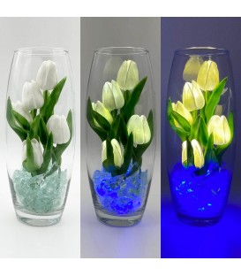 """Ночник """"Светодиодные цветы"""" LED Grace, 5 белых тюльпанов с синей подсветкой — Купить по низкой цене в интернет-магазине"""