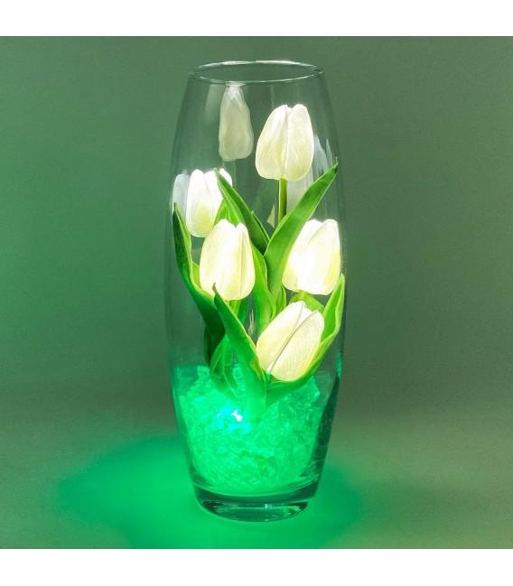 """Ночник """"Светодиодные цветы"""" LED Grace, 5 белых тюльпанов с зелёной подсветкой — Купить по низкой цене в интернет-магазине"""
