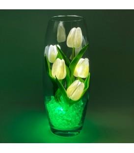 """Ночник """"Светодиодные цветы"""" LED Grace, 5 белых тюльпанов с зелёной подсветкой"""