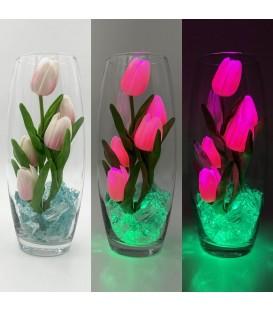 """Ночник """"Светодиодные цветы"""" LED Grace, 5 розовых тюльпанов с зелёной подсветкой — Купить по низкой цене в интернет-магазине"""