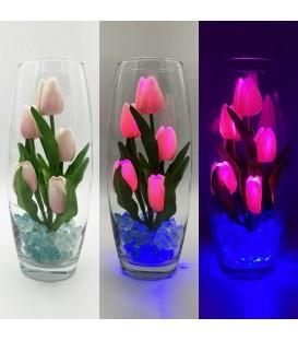 """Ночник """"Светодиодные цветы"""" LED Grace, 5 розовых тюльпанов с синей подсветкой — Купить по низкой цене в интернет-магазине"""