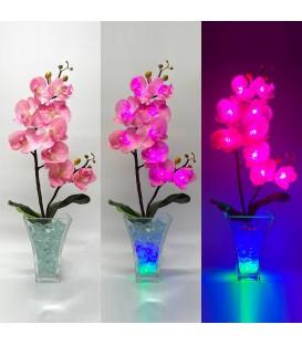 """Ночник """"Светодиодные цветы"""" LED Inspiration, 9 малиновых орхидей с зелёной подсветкой — Купить по низкой цене в"""
