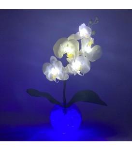 """Ночник """"Светодиодные цветы"""" LED Provocation, 5 белых орхидей с синей подсветкой"""