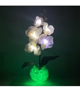 """Ночник """"Светодиодные цветы"""" LED Provocation, 5 белых орхидей с зелёной подсветкой"""
