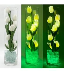 """Ночник """"Светодиодные цветы"""" LED Spirit, 9 белых тюльпанов с зелёной подсветкой"""