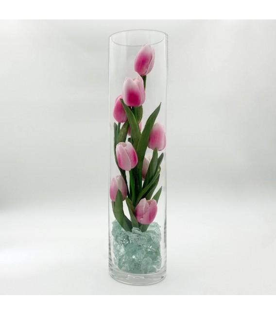 """Ночник """"Светодиодные цветы"""" LED Spirit, 9 розовых тюльпанов с зелёной подсветкой — Купить по низкой цене в интернет-магазине"""
