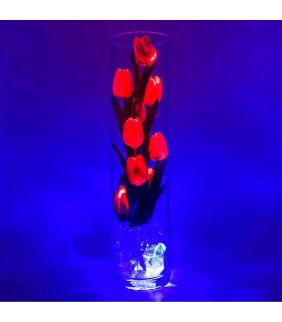 """Ночник """"Светодиодные цветы"""" LED Spirit, 9 красных тюльпанов с синей подсветкой — Купить по низкой цене в интернет-магазине"""