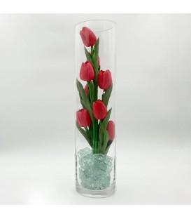 """Ночник """"Светодиодные цветы"""" LED Spirit, 9 красных тюльпанов с зелёной подсветкой"""