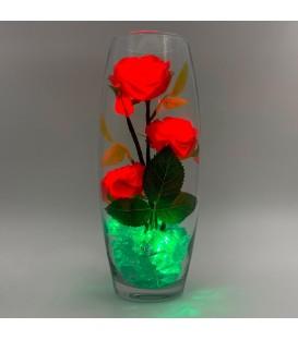 """Ночник """"Светодиодные цветы"""" LED Harmony, 5 красных роз с зелёной подсветкой"""